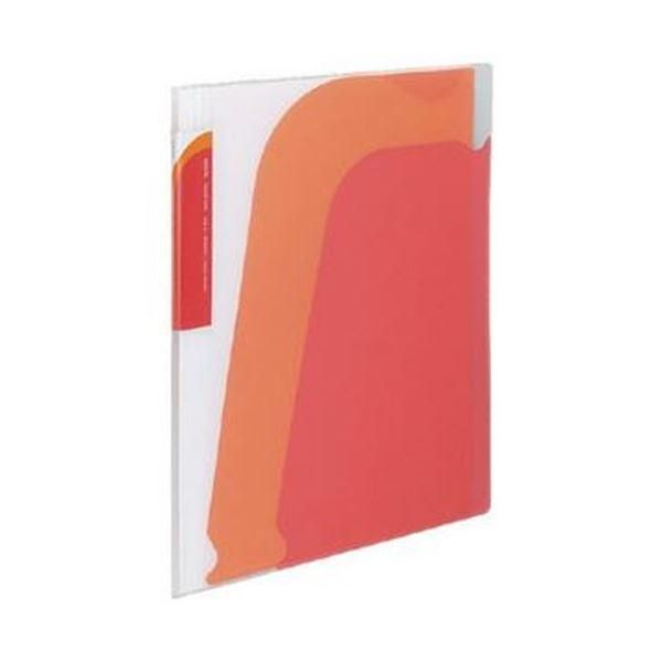 (まとめ)コクヨ ポケットブック(ノビータ)チャックポケット付き A4タテ 約90枚収容 背幅10~25mm 赤 ラ-N205R 1セット(10冊)【×3セット】