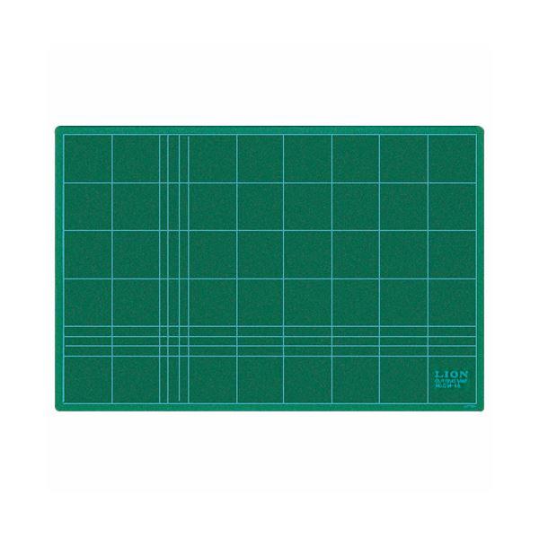 (まとめ) ライオン事務器 カッティングマット再生PVC製 両面使用 450×300×3mm グリーン CM-45 1枚 【×10セット】