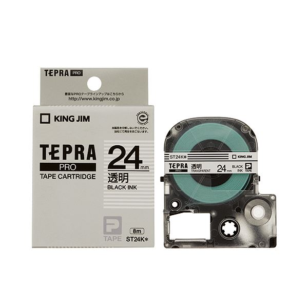 (まとめ) キングジム テプラ PRO テープカートリッジ 24mm 透明/黒文字 ST24K 1個 【×10セット】