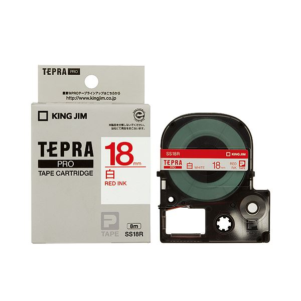(まとめ) キングジム テプラ PRO テープカートリッジ 18mm 白/赤文字 SS18R 1個 【×10セット】