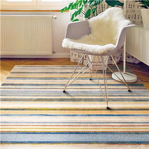 トルコ製 ラグマット/絨毯 【ブルー 2畳 約160×225cm】 長方形 折りたたみ収納可 ウィルトン織り 『ルーン RUG』 〔リビング〕