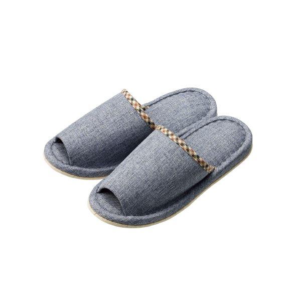 (まとめ)オーミケンシ 外縫いチェックスリッパ ブルー【×30セット】