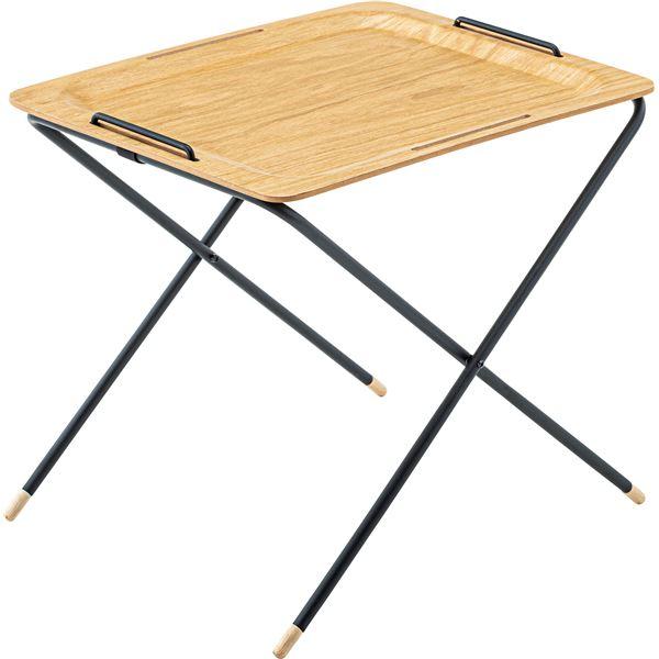 【2セット】 フォールディングテーブル/サイドテーブル 【オーク】 幅50cm×奥行40cm×高さ43-52cm 天然木