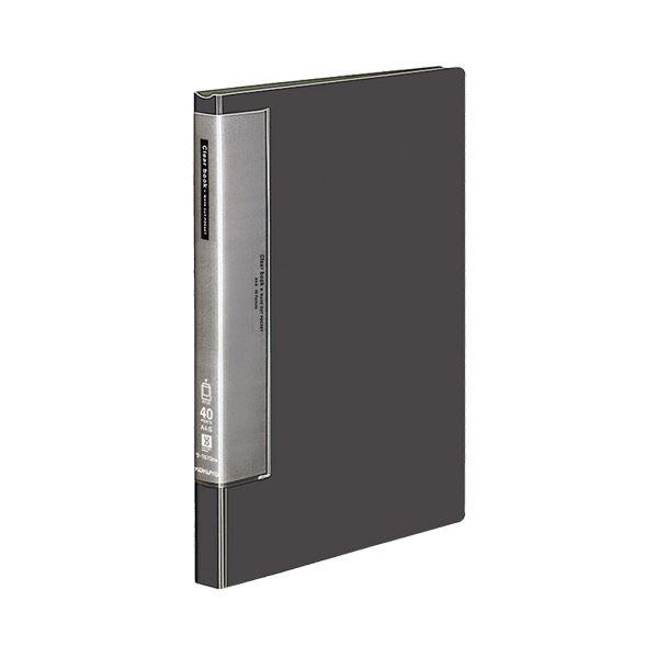(まとめ) コクヨ クリヤーブック(クリアブック)(ウェーブカットポケット・固定式) A4タテ 40ポケット 背幅27mm ダークグレー ラ-T570DM 1冊 【×10セット】