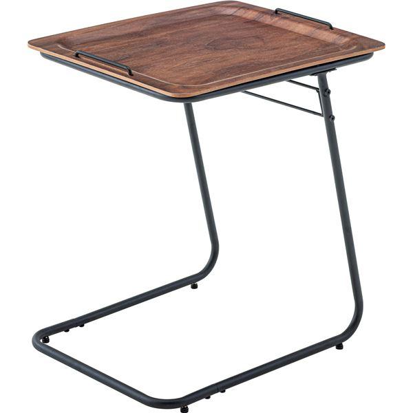 【2セット】 フォールディングテーブル/サイドテーブル 【ウォールナット】 幅50cm×奥行40cm×高さ56cm 天然木 【組立品】