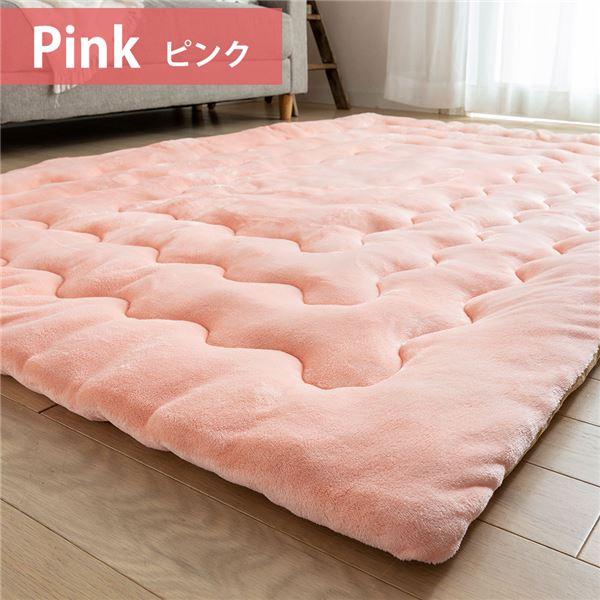 簡単ケア ラグマット/絨毯 【ボリューム 幅約185cm×185cm ピンク】 正方形 吸湿 発熱 蓄熱 抗菌 防臭 防滑 〔リビング〕