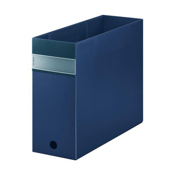 (まとめ) キングジム FAVORITESボックスファイル(透明) A4ヨコ 収納幅100mm ネイビー FV4903Tネイ 1個 【×10セット】