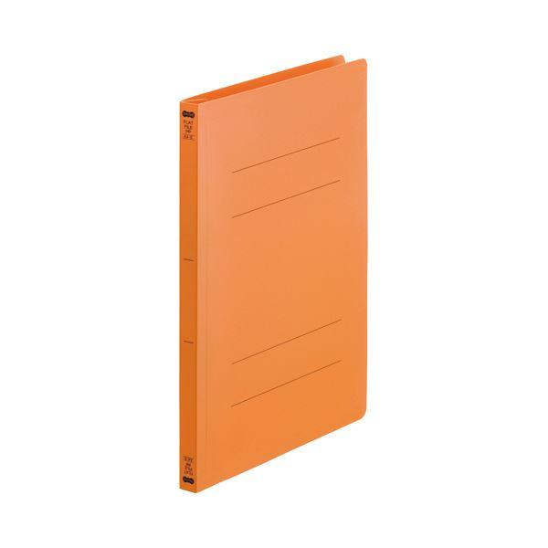 (まとめ) TANOSEEフラットファイル(再生PP) A4タテ 150枚収容 背幅18mm オレンジ1セット(25冊:5冊×5パック) 【×10セット】