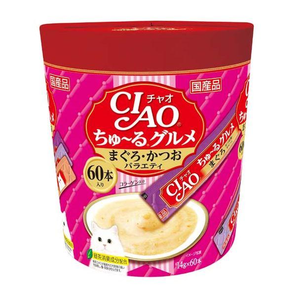 (まとめ)CIAO ちゅ~る グルメ まぐろ・かつおバラエティ 14g×60本 (ペット用品・猫フード)【×8セット】