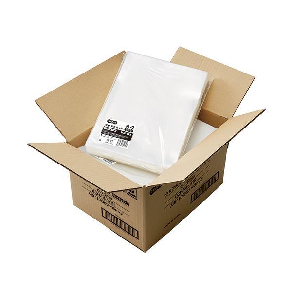 (まとめ)TANOSEE クリアホルダーエコノミータイプ A4 厚さ0.15mm 1セット(600枚:100枚×6パック)【×3セット】