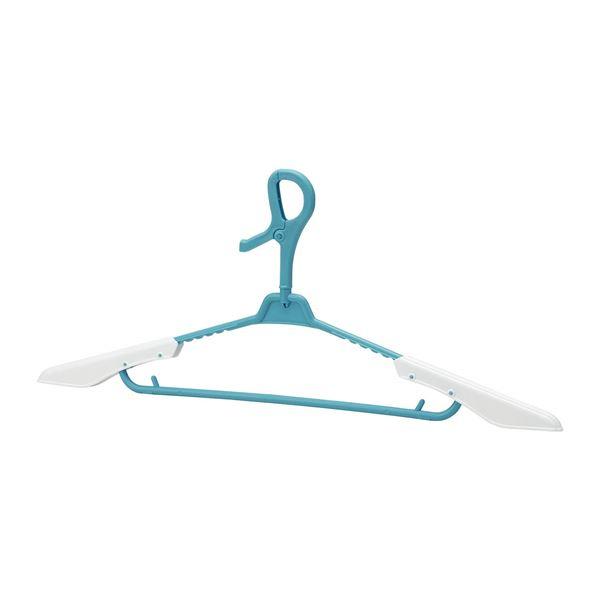 (まとめ)レック トレーナーハンガー ブルー 3本組 W-369 (洗濯ハンガー) 【40個セット】