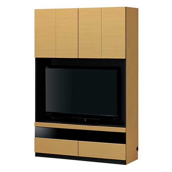 壁面テレビボード/テレビ台 【ナチュラル】 幅120cm 日本製 引き出し付き AV機器収納可 組立式 『ポルターレ』 〔リビング〕【代引不可】