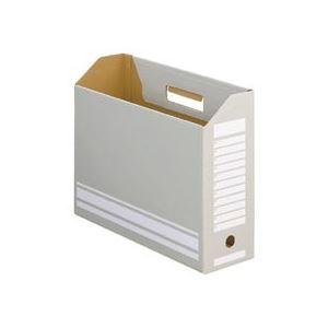 (まとめ) TANOSEE ボックスファイル A4ヨコ 背幅100mm グレー 1パック(10冊) 【×10セット】