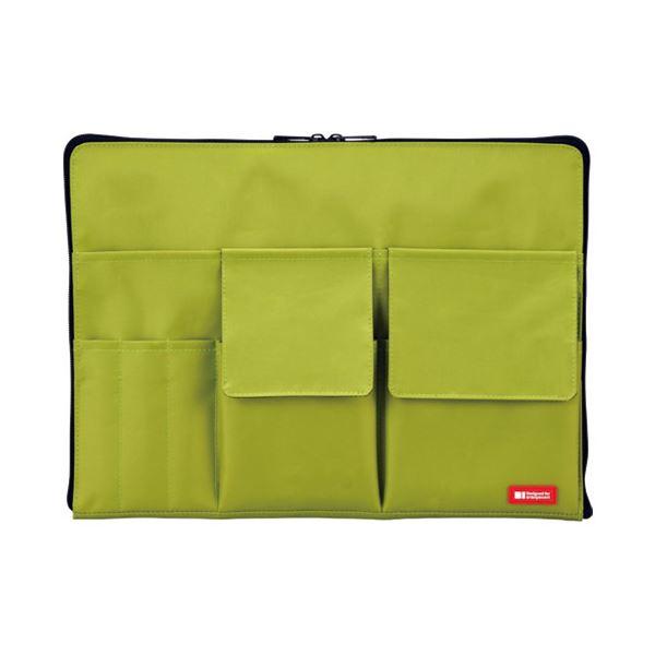 (まとめ)LIHITLAB バック イン バック A4 A7554-6 黄緑【×30セット】