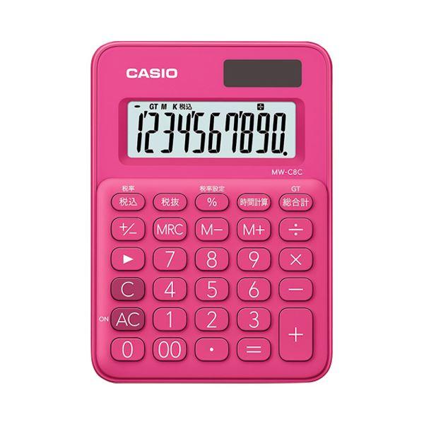 (まとめ)カシオ計算機 ミニ電卓10桁 MW-C8C-RD-N【×30セット】