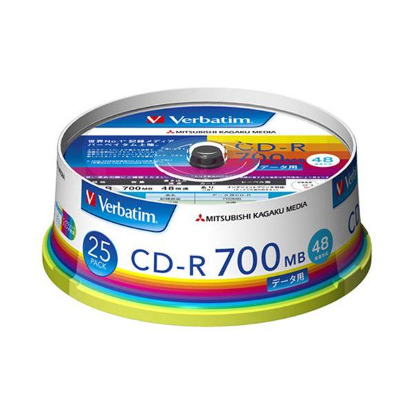 (まとめ) バーベイタム データ用CD-R700MB 4-48倍速 ホワイトワイドプリンタブル スピンドルケース SR80FP25V11パック(25枚) 【×10セット】