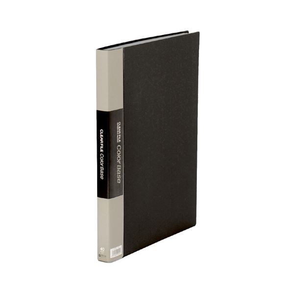 (まとめ)キングジム クリアーファイルカラーベースW B4タテ 40ポケット 背幅27mm 黒 142CW 1セット(5冊)【×3セット】