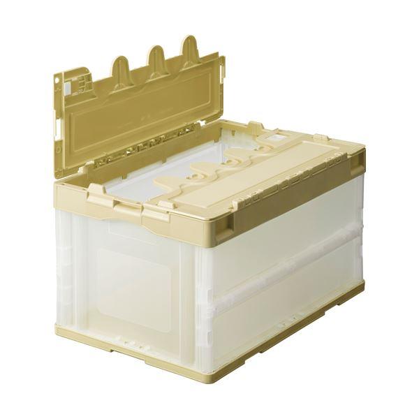(まとめ) TANOSEE 折りたたみコンテナ フタ付 40L アイボリー/透明 1台 【×5セット】