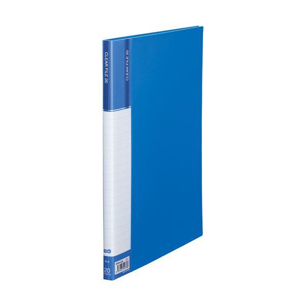 (まとめ) TANOSEE クリヤーファイル(台紙入) A4タテ 20ポケット 背幅14mm ブルー 1セット(10冊) 【×5セット】