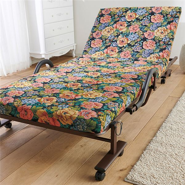 折りたたみベッド/簡易ベッド 【セミダブル 花柄】 幅約120cm 硬質ウレタン スチールフレーム キャスター 手すり付き 〔寝室〕