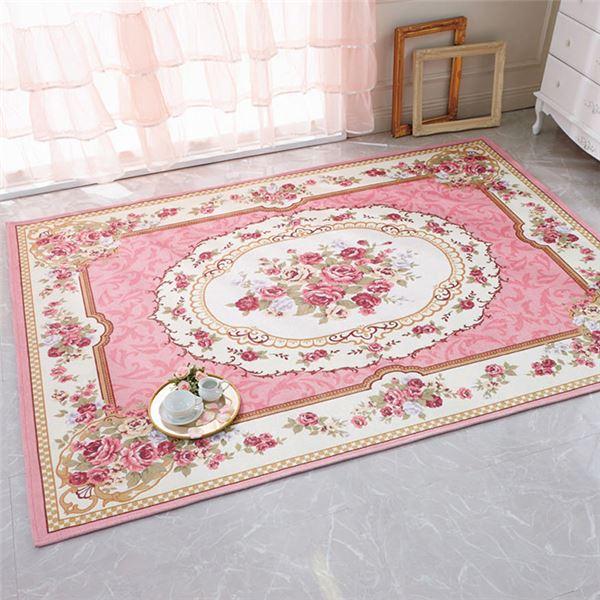 花柄 ラグマット/絨毯 【約130×180cm ピンク】 長方形 シェニール デザインプリント 〔リビング ダイニング ベッドルーム〕