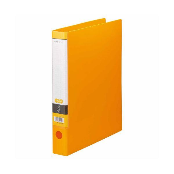 (まとめ) TANOSEE Oリングファイル A4タテ 2穴 250枚収容 背幅44mm オレンジ 1冊 【×30セット】