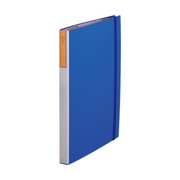 (まとめ)キングジム クリアーファイルGLA2タテ 4穴 20ポケット付属 背幅51mm 青 174 1冊【×3セット】