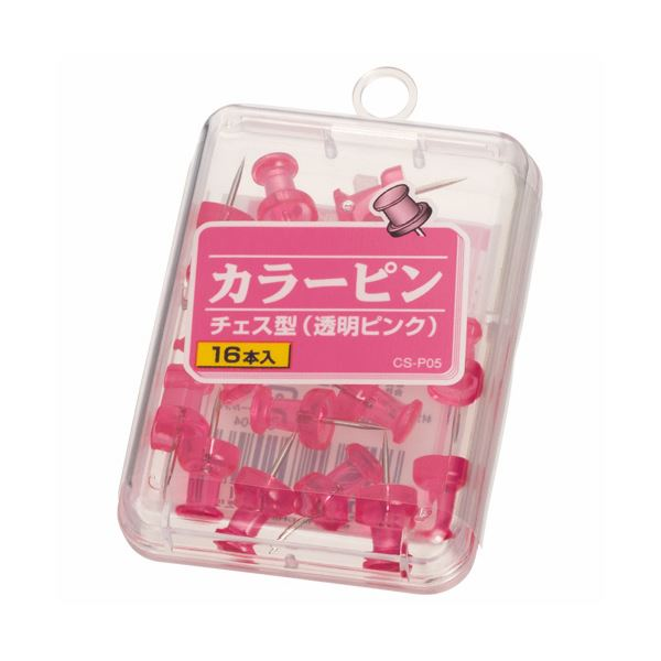 (まとめ) ライオン事務器 カラーピンチェス型針長さ10mm 透明ピンク CS-P05 1箱(16本) 【×50セット】