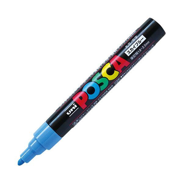 (まとめ)三菱鉛筆 ポスカ PC-5M.48 中字 スカイブルー【×100セット】