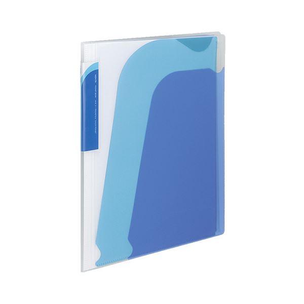 (まとめ) コクヨ ポケットブック(ノビータ) チャックポケット付き A4タテ 約90枚収容 背幅10~25mm 青 ラ-N205B 1冊 【×30セット】