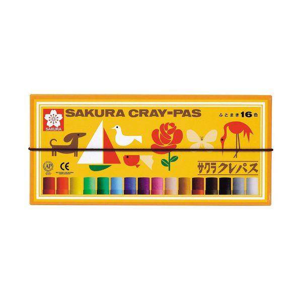 (まとめ) サクラクレパス クレパス太巻 16色(各色1本) バンド付き LP16R 1箱 【×30セット】