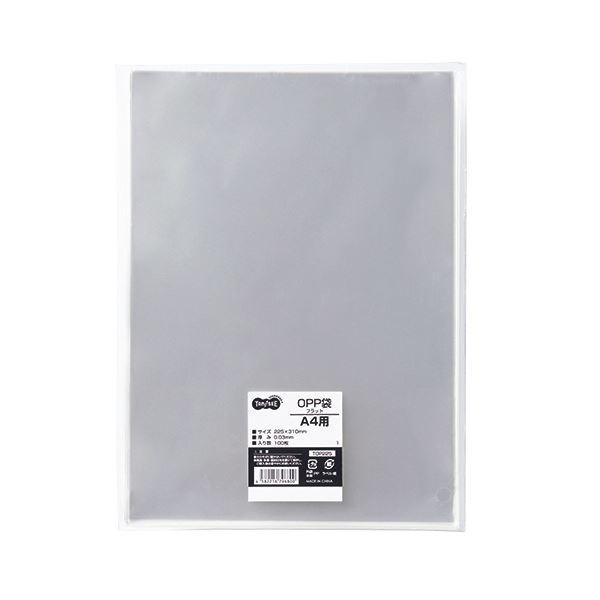 (まとめ) TANOSEE OPP袋 フラット A4用 225×310mm 1パック(100枚) 【×30セット】