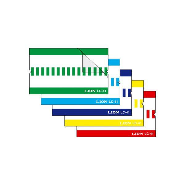 (まとめ) ライオン事務器 見出しラベル透明保護フィルム付 A4タテ 5色5山用 30片(各色6片) LC-42 1冊 【×30セット】