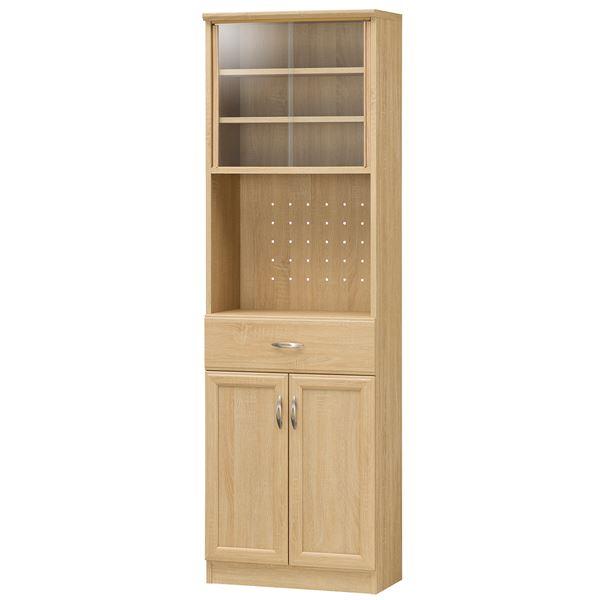 カップボード/食器棚 【ナチュラル】 幅566mm 移動棚 扉収納付き 『ホノボーラ』 〔キッチン 台所 ダイニング〕 組立式【代引不可】