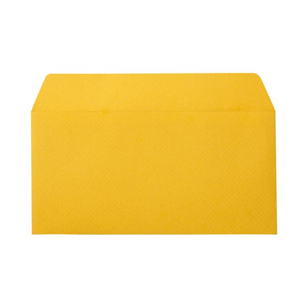 (まとめ) 寿堂 カラー横型封筒 110×220mm 127.9g/m2 テープのり付 〒枠なし 柚子 10351 1パック(10枚) 【×30セット】