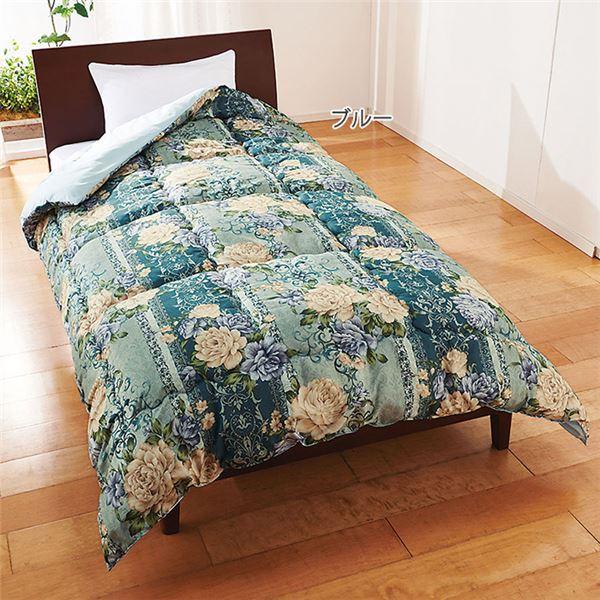 吸湿発熱 掛け布団/寝具 【シングル ブルー】 幅190cm 洗える 吸湿発熱ウール100% 日本製 ウールマーク 〔ベッドルーム〕