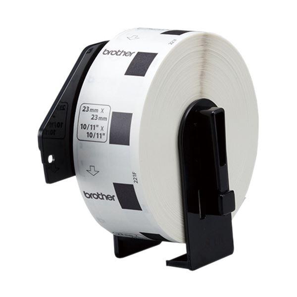 (まとめ) ブラザー DKプレカットラベル食品表示用 23×23mm 白/黒文字 DK-1221 1個(1200枚) 【×10セット】