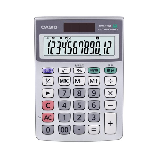 (まとめ) カシオ 特大表示電卓 12桁ミニジャストサイズ MW-12GT-N 1台 【×10セット】