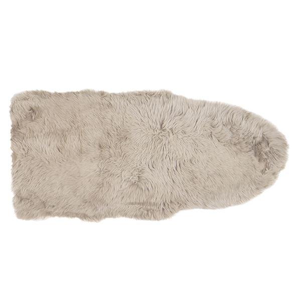 ニュージーランド産 天然ムートンの1.5匹 ラグマット 【約60×130cm ブラウン】 表面:羊毛皮100% 吸水性 放湿性 『M-511-F』【代引不可】