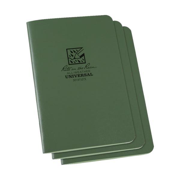 (まとめ) ライトインザレインステイプルノートブック ユニバーサル グリーン 971FX 1パック(3冊) 【×5セット】