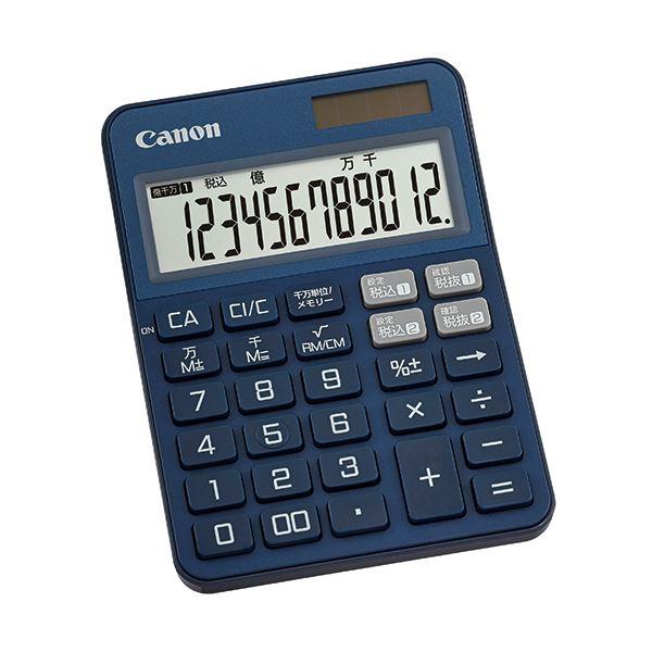(まとめ) キヤノン カラフル電卓 ミニ卓上KS-125WUC-BL 12桁 ブルー 2307C005 1台 【×10セット】