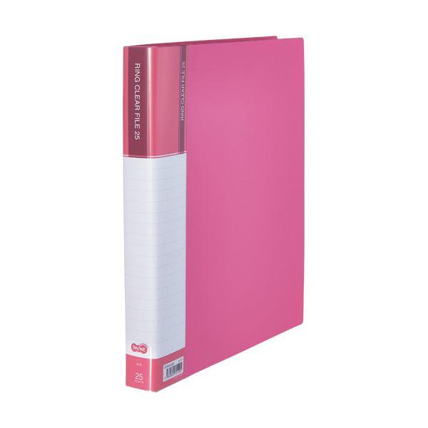 (まとめ)TANOSEEPPクリヤーファイル(差替式) A4タテ 30穴 25ポケット ピンク 1セット(10冊)【×3セット】
