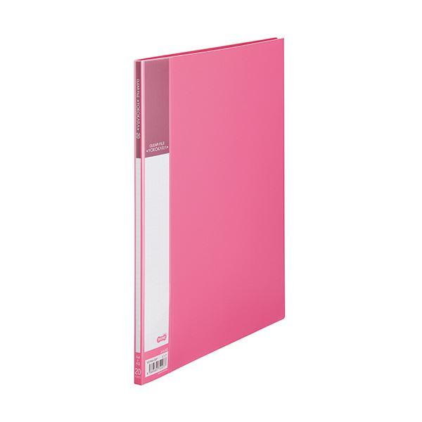 (まとめ) TANOSEE書類が入れやすいクリヤーファイル「ヨコカラ」 A4タテ 20ポケット 背幅8mm ピンク 1冊 【×50セット】