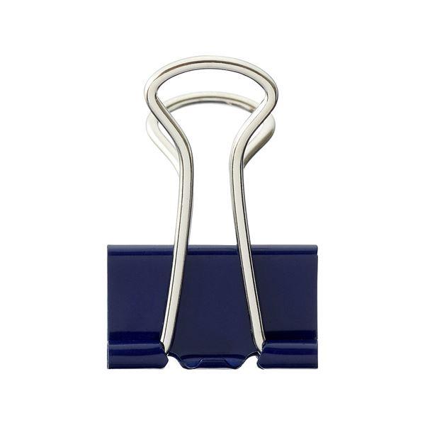 (まとめ) TANOSEE ダブルクリップ 中 口幅25mm ブルー 1箱(10個) 【×100セット】