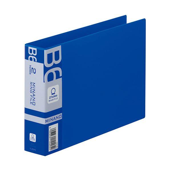 (まとめ) ライオン事務器 リングファイルMINANO(ミナノ) B6ヨコ 2穴 200枚収容 背幅35mm ブルー RF-228M 1冊 【×30セット】