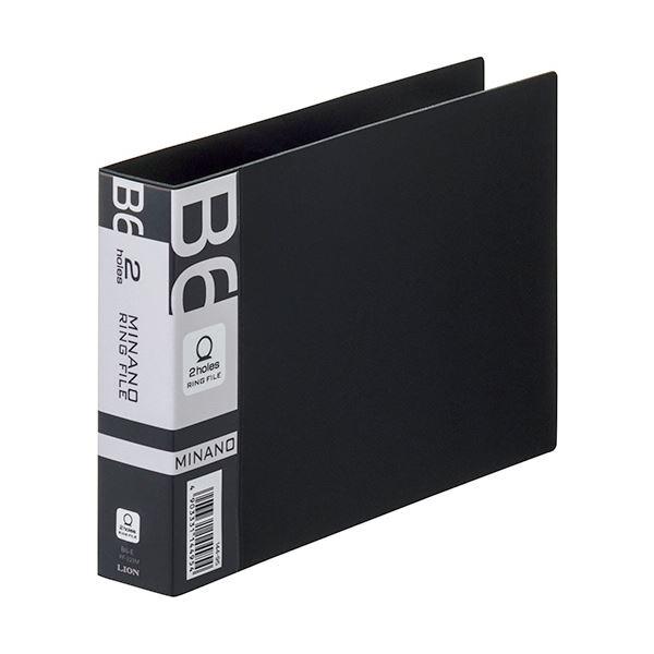 (まとめ) ライオン事務器 リングファイルMINANO(ミナノ) B6ヨコ 2穴 200枚収容 背幅35mm ブラック RF-228M 1冊 【×30セット】