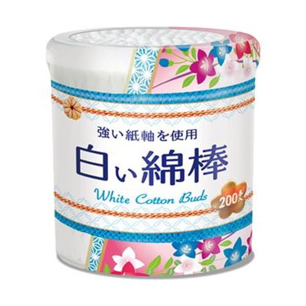 (まとめ)サンリツ 白い綿棒 本体 1パック(200本)【×100セット】