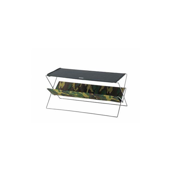 折りたたみテーブル/サイドテーブル 【カモフラージュ】 幅90cm スチール コットン ポリエステル 〔アウトドア キャンプ 釣り〕