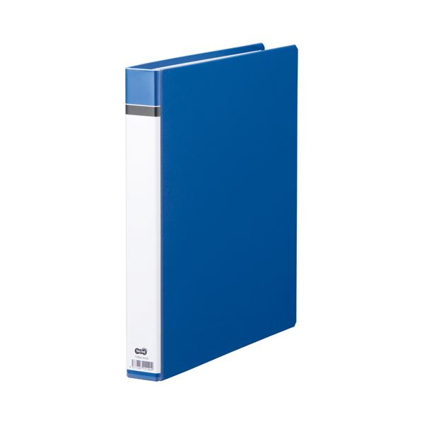 (まとめ) TANOSEE 30穴バインダー(貼り表紙) A4タテ 100枚収容 背幅42mm 青 1セット(10冊) 【×5セット】