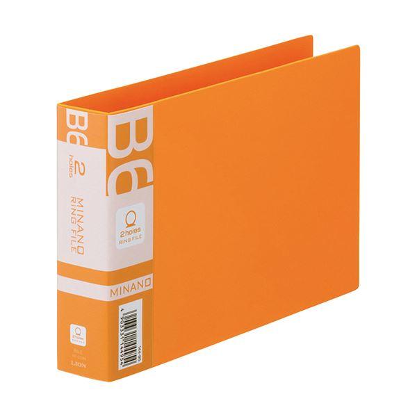 (まとめ) ライオン事務器 リングファイルMINANO(ミナノ) B6ヨコ 2穴 200枚収容 背幅35mm オレンジ RF-228M 1冊 【×30セット】